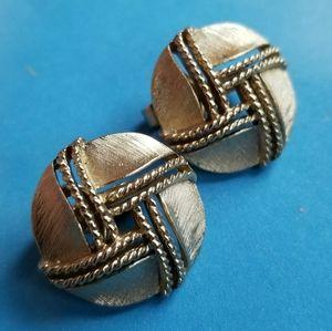 Vintage Crown Trifari Clip back Earrings Gold Tone